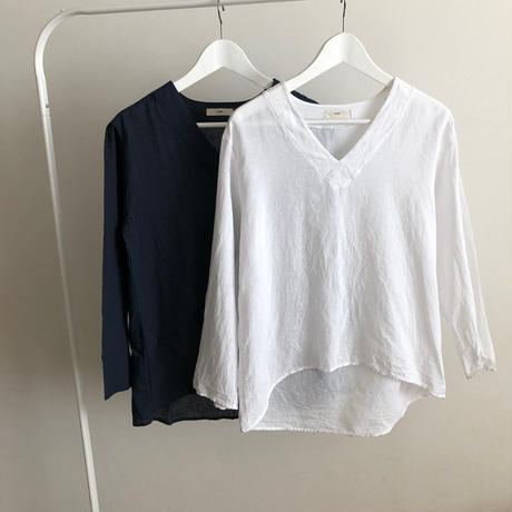ramie v-neck blouse (2color) [TOP18SS-0045]