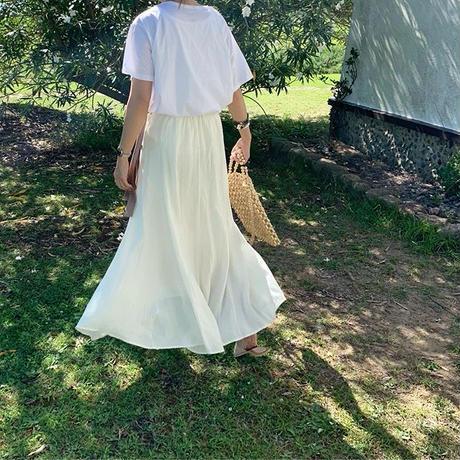 color scheme belt flare skirt (2color)  [SK18SS-0053]