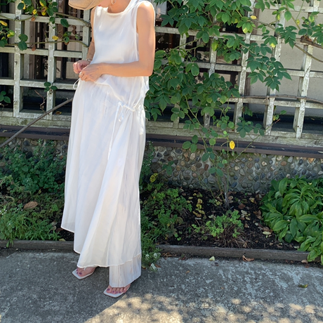 side ribbon sheer  one-piece (2color)[OP21SS746]