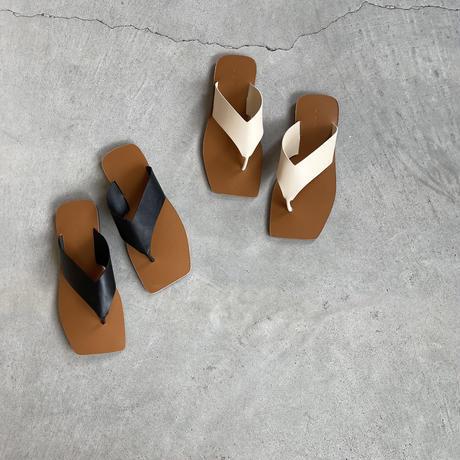 square toe flat thong sandal (2color)