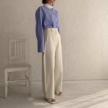 bicolor stripe shirt[TOP21SS658]
