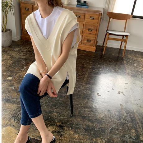 sweat v neck vest (2color)[TOP21SS666]