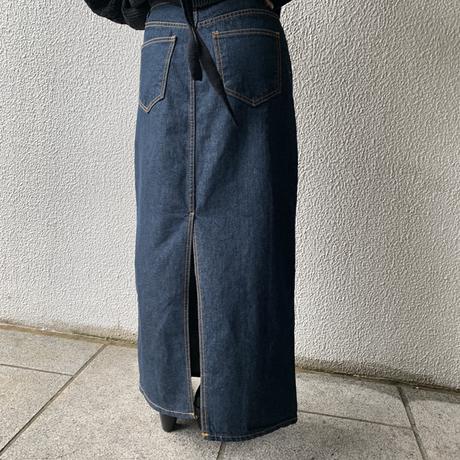 back slit denim  tight skirt[BT20AW551]
