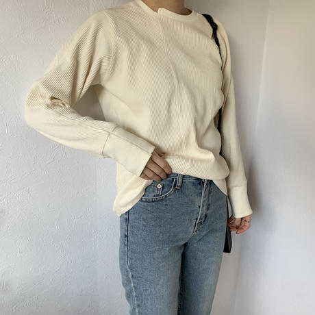 asymmetry rib tops (2color)  [TOP20AW259]