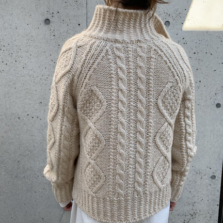 high neck cable knit cardigan (2color)[TOP20AW539]