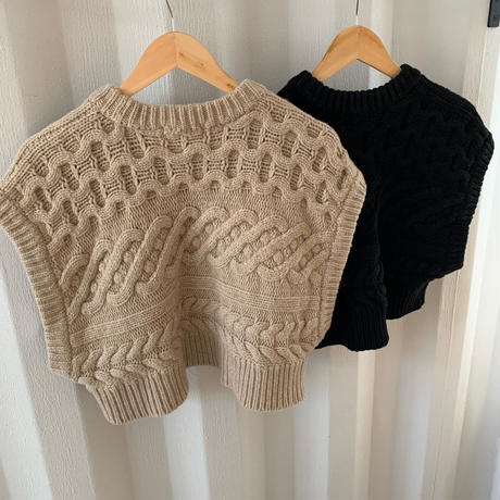 cable knit short best (2color) [TOP19AW0106]