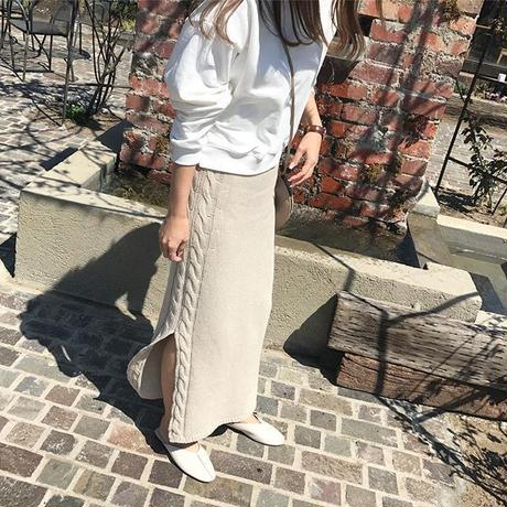 knit long skirt (2color)