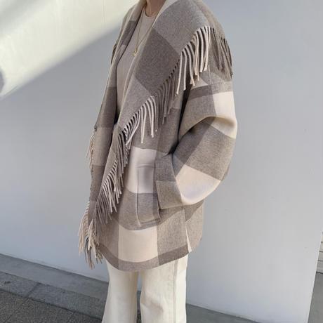 check fringe coat [OU20AW534]