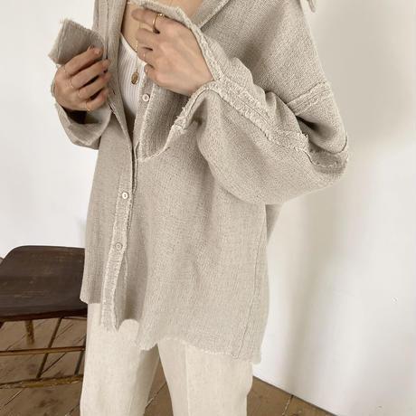 fringe linen blend shirt (3color)[TOP21SS631]