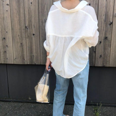 stripe sheer shirt (2color)