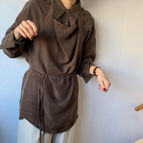 2set apron mat satin shirt (2color)[TOP20AW599]