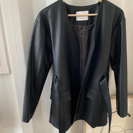 no collar eco leather jacket (2color)[OU20AW605]
