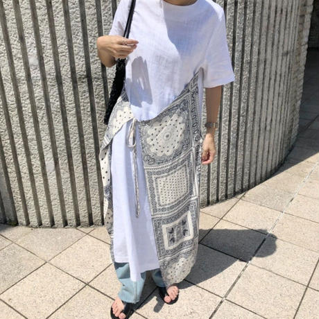 bandanna apron linen onepiece (2color)