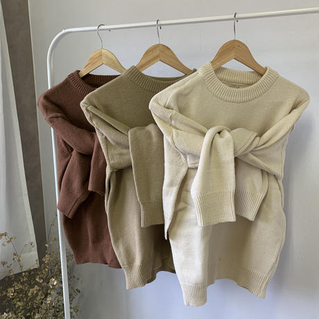 2way layered design knit (3color)  [TOP20AW224]