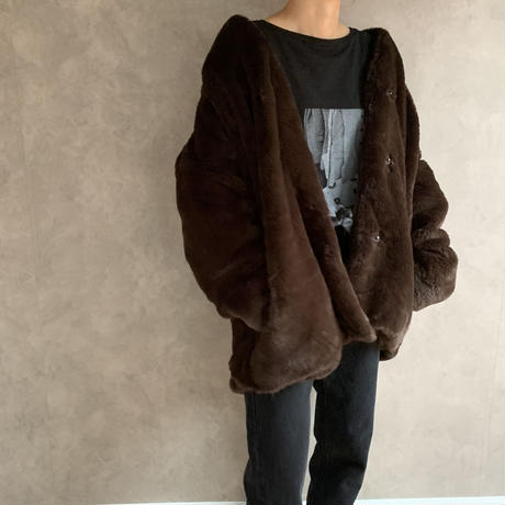 vintage like eco fur cocoon  coat (3color)  [OU19AW0117]
