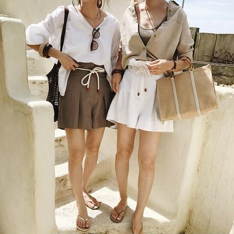 high-waisted short pants (2color)