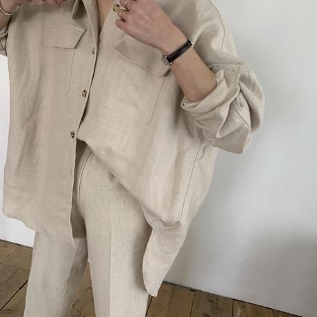 [original]  linen  belt shirt[FLEN-14]