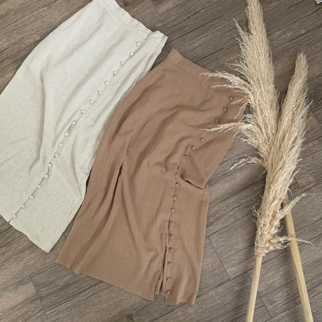 linen slit tight skirt (2color)