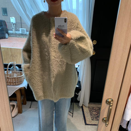 shaggy knit cardigan (2color) [TOP18AW0152]