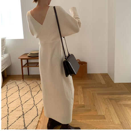 front cross rib knit one-piece (2color)[OP20AW525]