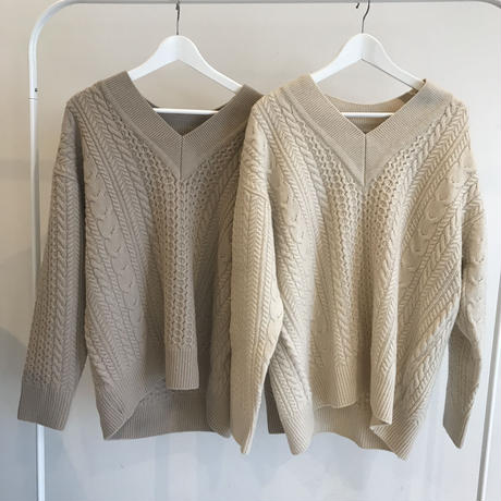cable v neck knit (2color)