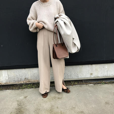 wool blend slit pants