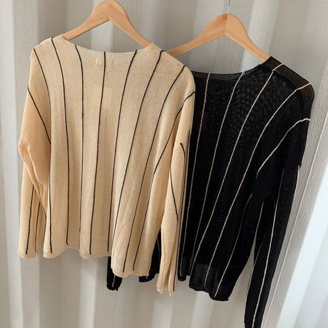 stripe knit (2color)  [TOP19AW0082]