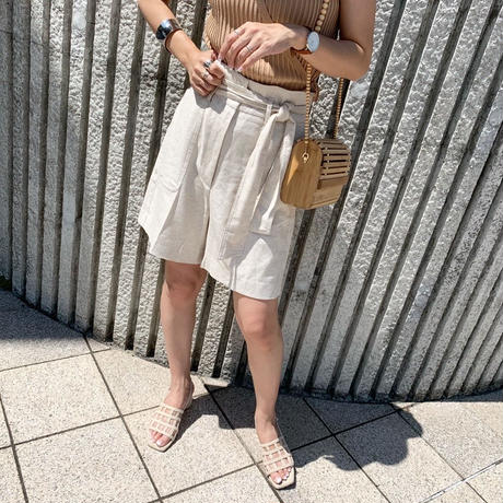 linen high-waist  short pants