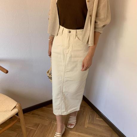 white denim skirt[BT20SS409]