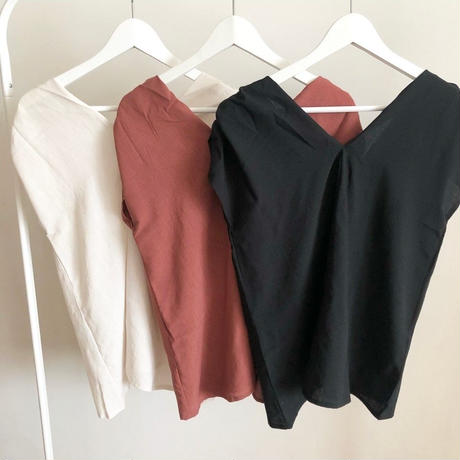 puffshoulder v neck blouse (3color)