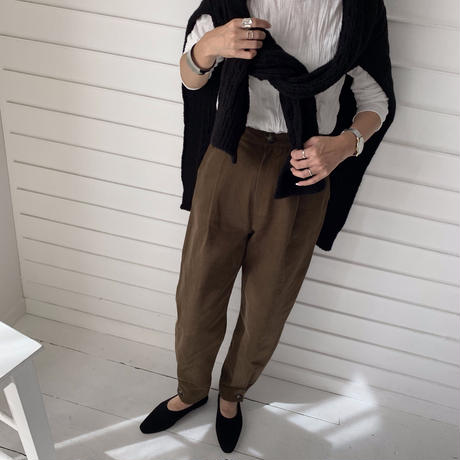 brown ankle  button pants  [BT19AW0135]