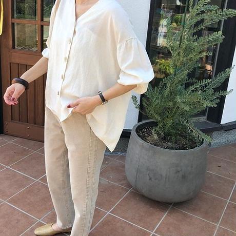 linen blend front button blouse (2color)