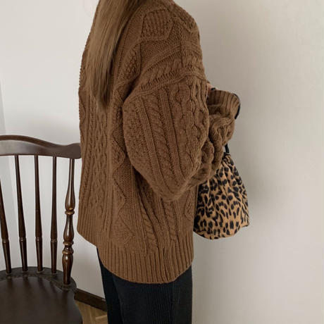 cable brown knit  [TOP19AW0144]