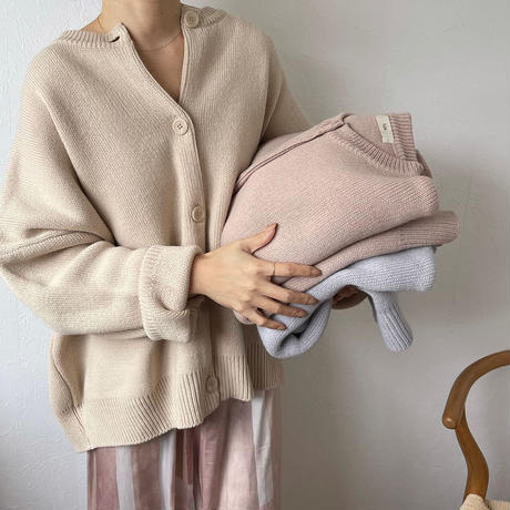 oversize basic knit cardigan (7color) [TOP19AW0102]