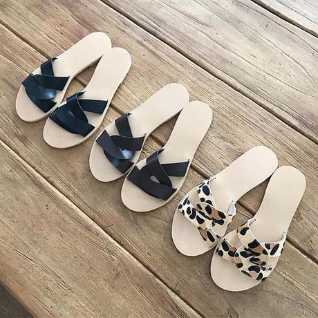 chain flat sandals (3color)