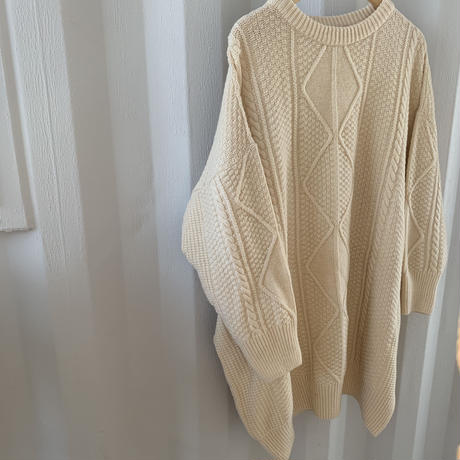 vintage like cable knit one-piece [OP20AW212]