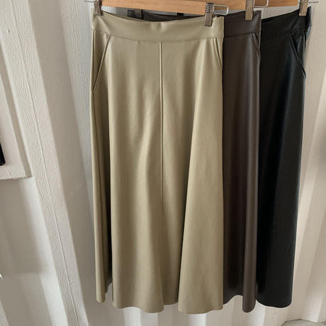 fakeleather flare skirt (3color)  [BT19AW0171]