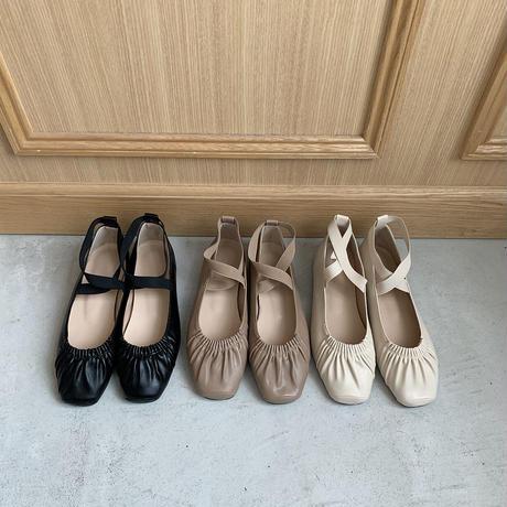 flat cross belt shoes (3color)
