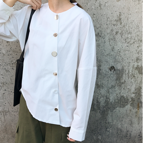 vintage like button mix blouse