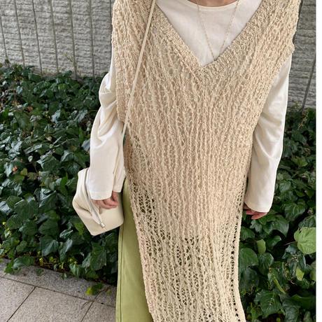 popcorn knit long vest (3color) [21SS-FL-04]
