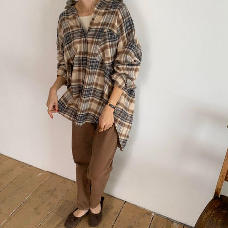 beige color check shirt  [TOP19AW0123]