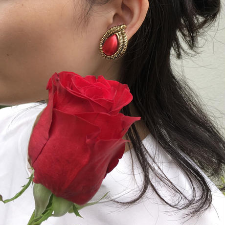 Gold Red Earrings