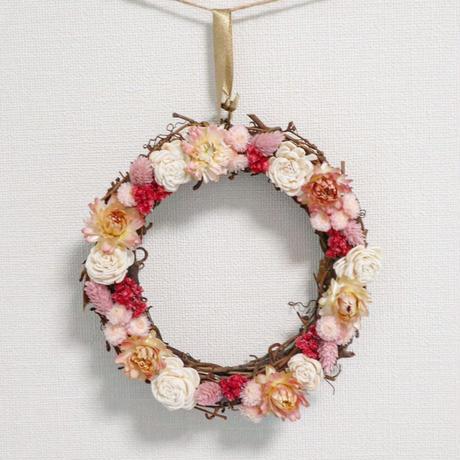 Couronne de fleurs séchées 【Rose】/ ドライフラワーリース【ピンク】
