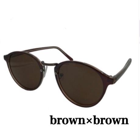 【限定】ボストンタイプサングラス【ブラウン×ブラウン】