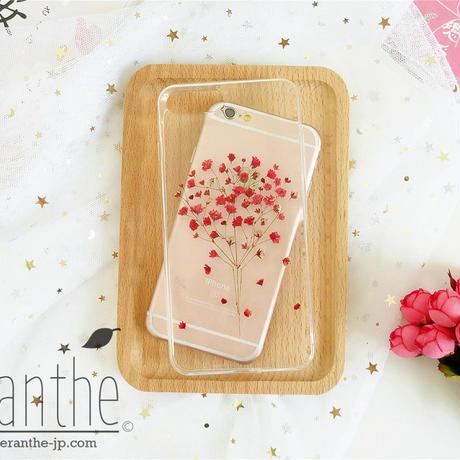 『親切・幸福・永遠の愛』かすみ草 スマホケース 人気 iPhone 押し花ケース
