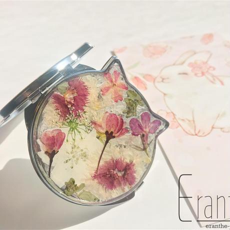 ネコ型 押し花のコンパクトミラー /  手鏡 / ミラー
