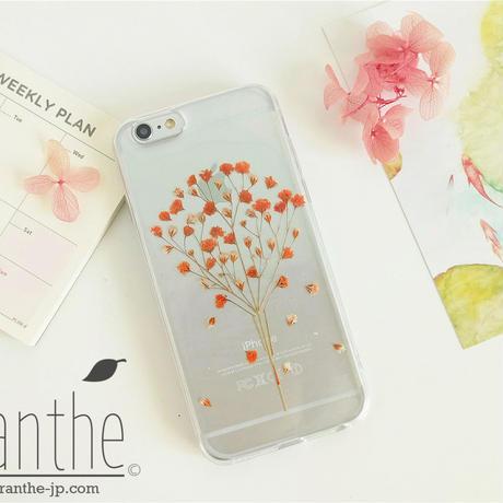 『親切・幸福・感謝』 かすみ草 スマホケース 人気 iPhone 押し花ケース