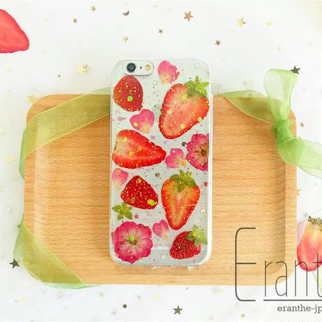『キラキラ いちご 押しフルーツ 』押しフルーツ スマホケース アイフォン iPhone 押し花 ケース