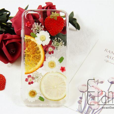 『レモン.オレンジ.いちご』押し花 ドライフラワー フルーツ スマホケース iPhone ケース