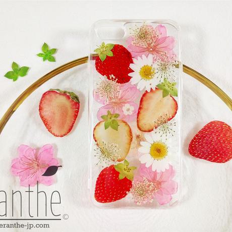 『いちご 🍓&桜 🌸 』押し花 ドライフラワー フルーツ スマホケース iPhone ケース